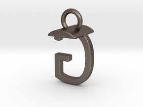 Two way letter pendant - GT TG in Polished Bronzed Silver Steel