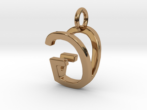 Two way letter pendant - GV VG in Polished Brass