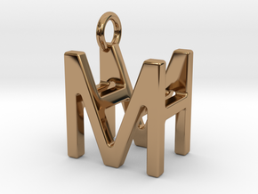 Two way letter pendant - HM MH in Polished Brass