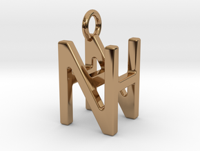 Two way letter pendant - HN NH in Polished Brass