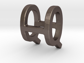Two way letter pendant - HQ QH in Polished Bronzed Silver Steel