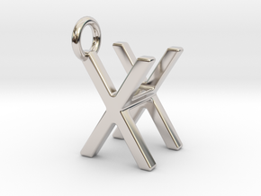 Two way letter pendant - HX XH in Rhodium Plated Brass