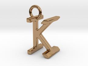 Two way letter pendant - IK KI in Polished Brass