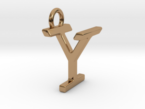 Two way letter pendant - IY YI in Polished Brass