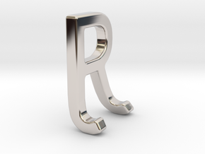 Two way letter pendant - JR RJ in Rhodium Plated Brass