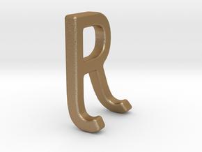 Two way letter pendant - JR RJ in Matte Gold Steel