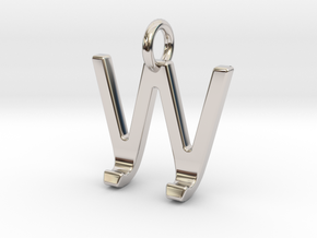 Two way letter pendant - JW WJ in Rhodium Plated Brass