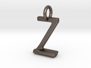 Two way letter pendant - JZ ZJ in Polished Bronzed Silver Steel