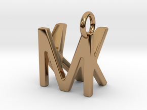 Two way letter pendant - KM MK in Polished Brass