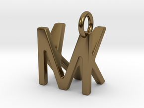 Two way letter pendant - KM MK in Polished Bronze