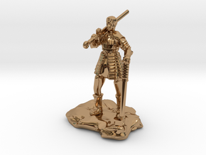 Half Orc In Splint With Sword And Hammer in Polished Brass