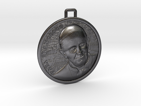 Papa Medal in Polished and Bronzed Black Steel