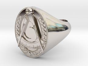 Masonic District Deputy Jewel Ring in Rhodium Plated Brass