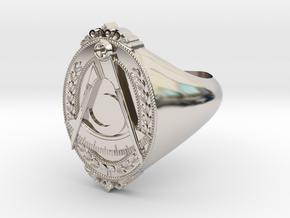District Deputy Jewel Ring in Rhodium Plated Brass