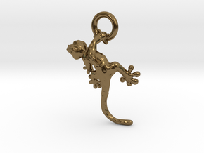 Gecko Pendant in Polished Bronze