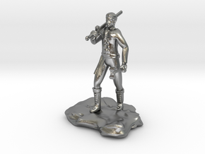 Half Orc Sorcerer With Sword And Hammer in Natural Silver