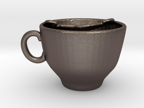 Moustache Cup in Polished Bronzed Silver Steel