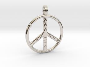 PEACE SYMBOL 2015 in Rhodium Plated Brass