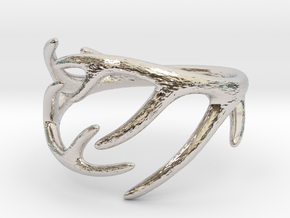Antler Ring No.2(Size 8) in Rhodium Plated Brass