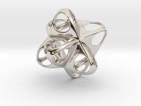 Merkaba Flatbase Round - 3.5cm in Rhodium Plated Brass
