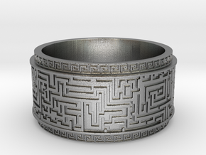 Ancient Maze ring in Natural Silver