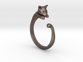Cat Ring V1 - (Sizes 5 to 15 available) US Size 9 in Polished Bronzed Silver Steel