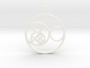Fibonacci Round Pendant in White Processed Versatile Plastic