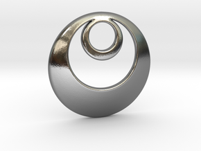 Fibonacci Round 1 Pendant in Polished Silver