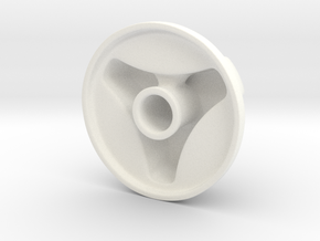 Knob Simple 3-lobe in White Processed Versatile Plastic