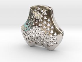 Shield Pendant 40mm in Rhodium Plated Brass
