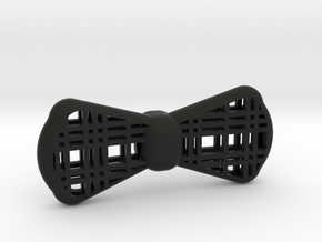 Plaid Bow Tie 3d Printed in Black Natural Versatile Plastic