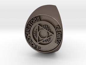 Esoteric Order Of Dagon Signet Ring Size 11.5 in Polished Bronzed Silver Steel