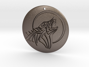 Houling Wolf Pendant in Polished Bronzed Silver Steel