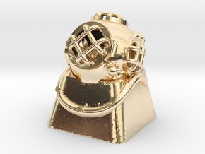 Diver Helmet (For Cherry MX Keycap) in 14k Gold Plated Brass