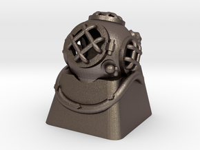Diver Helmet (For Cherry MX Keycap) in Polished Bronzed Silver Steel