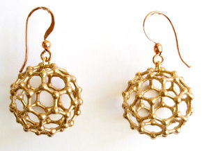 C60 Buckyball earrings in Natural Bronze