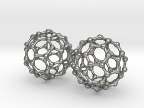 C60 Buckyball earrings in Natural Silver