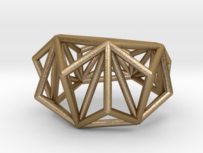Cage Ring- size 7  in Polished Gold Steel
