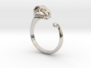 Rabbit Ring - (Sizes 5 to 15 available) US Size 9 in Rhodium Plated Brass