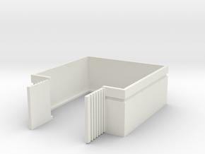 Trash Enclosure; Open Doors in White Natural Versatile Plastic