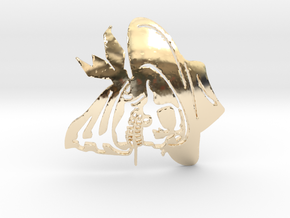 SkullPendant3 in 14k Gold Plated Brass