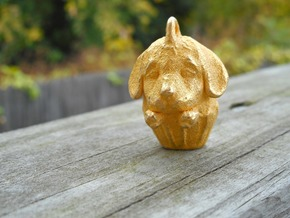 Golden Retriever Pupcake in Polished Gold Steel