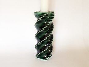 Porcelain Step Candle Holder (Large) in Gloss Oribe Green Porcelain