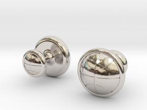 BASKETBALL CUFFLINKS 1 in Rhodium Plated Brass