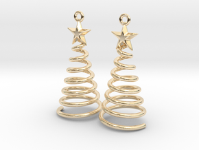 Spiral Christmas Tree w Star Earrings in 14k Gold Plated Brass