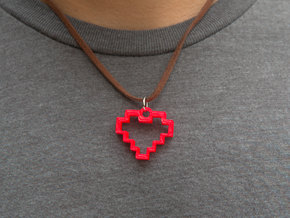8 Bit Heart Pendant in Red Processed Versatile Plastic