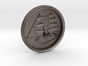 Ship Basrelief in Polished Bronzed Silver Steel