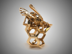 Western Honey Bee Ring (Sizes 5-12) in Polished Brass