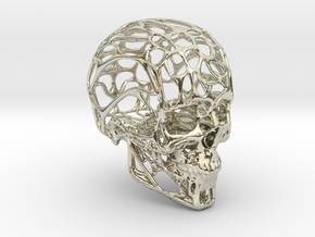 Human Skull - Wireframe design in 14k White Gold