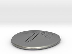Sand Dollar Pendant, precious metal, 30mm in Natural Silver